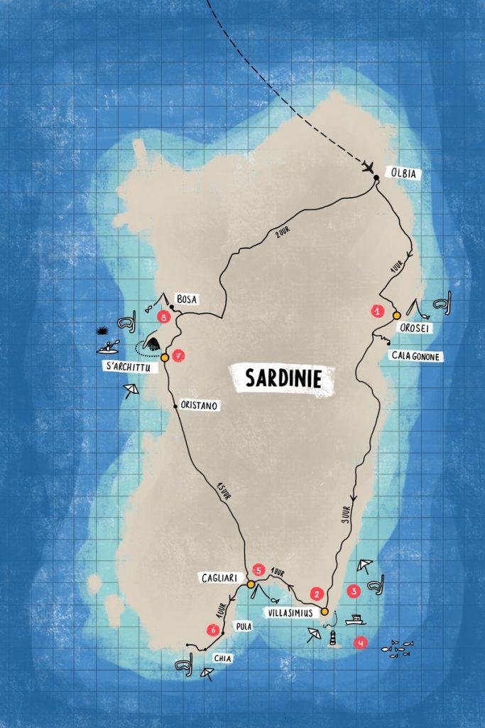 Route getekend Sardinië