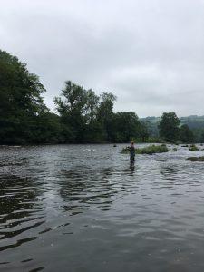 Vliegvissen op upper river Wye bij Abernant Beat